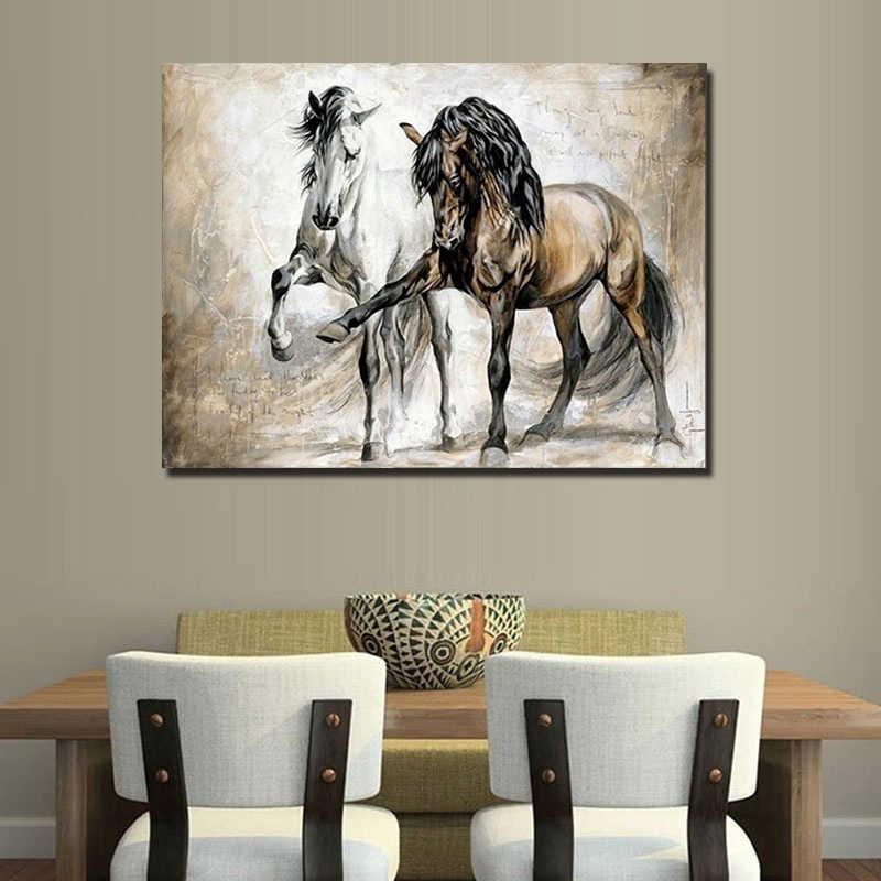 NO Frame Retro Nostalgia Brown Horse Dance Home Decor Living Room on Canvas Wall Art Print painting