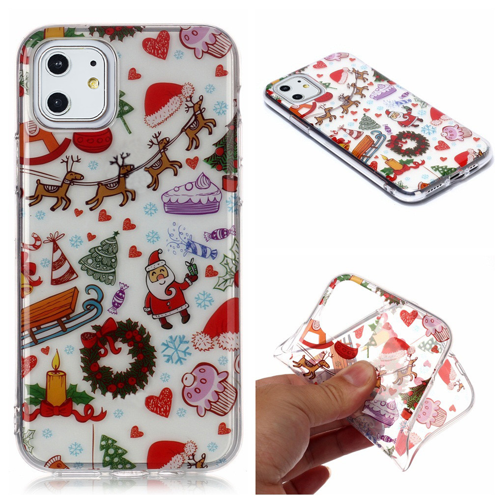 Merry Christmas Colorful Printed TPU Case For Iphone 11 6.1In For Iphone 11 Pro 5.8In/For Iphone 11 Pro Max 6.5In Drop Resistant (US STOCK)