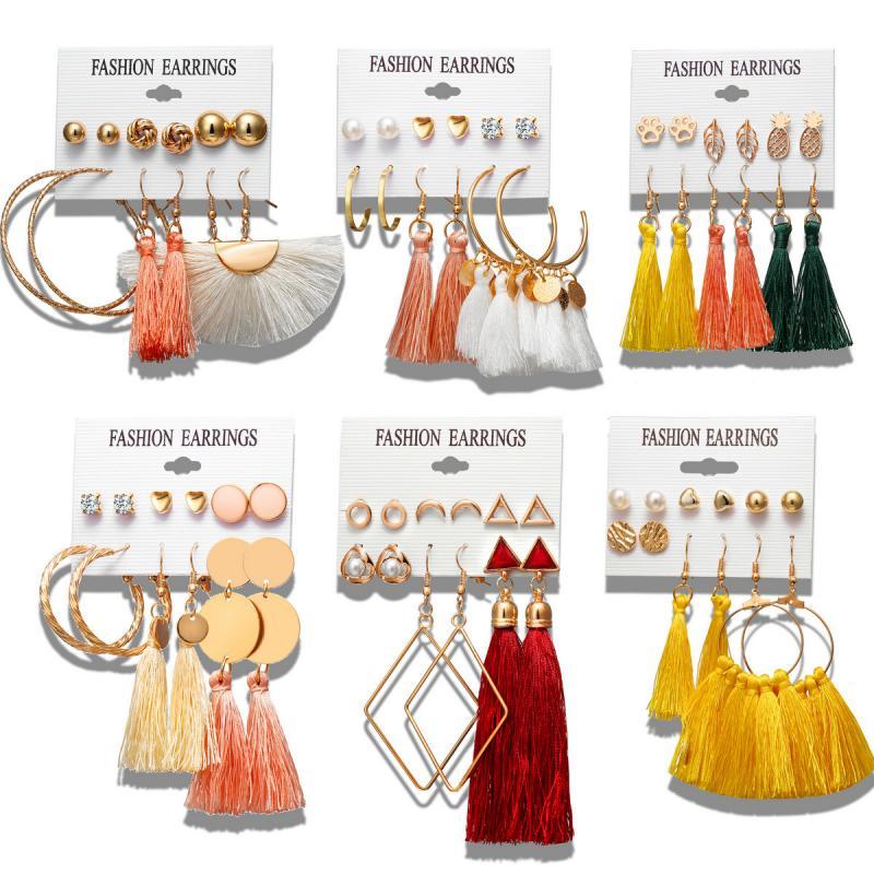 Women Tassel Earrings Bohemian Long Earrings Set For Lady Brincos Geometric Fabric Drop Earring Female Fashion Jewelry