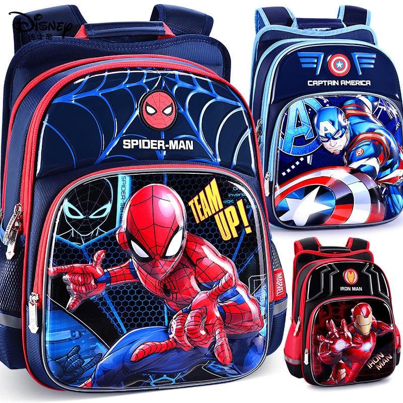 Disney Per Bambini Zaino Ragazzi Sacchetto di Scuola 3-12 Età Spider-Man Iron Man Impermeabile Striscia Riflettente 3D Modello regalo di compleanno 1