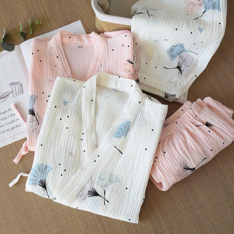 Spring and Summer Pure Cotton Yarn Kimono Pajamas V Neck Printing Plus Size Pijama Mujer Loungewear Women 2 Piece Sleepwear|Pajama Sets|   - AliExpress