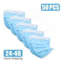 50/100 Face Mouth Mask Disposable Mask Protect 3 Layers Filter Dustproof Earloop Non Woven Mouth Masks 24 hours Shipping(China)