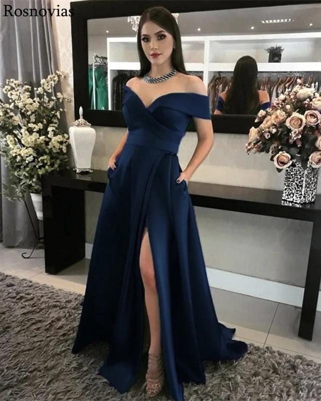 Navy Blue Prom Dresses 2020 Off Shoulder Side Split Floor Length Green Formal Evening Party Dress Vestido De Fiesta Customized