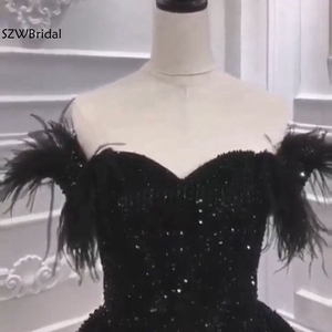 Image 4 - Новое поступление, мусульманское вечернее платье 2020, вечернее платье с черными перьями и бисером, Дубай, арабские Длинные платья, вечерние платья