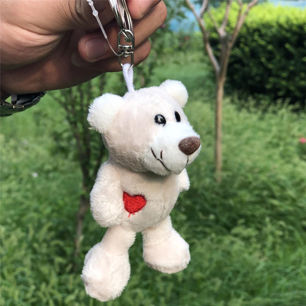 5 Pcs Keychain White Bear Pendant Stuffed Plush Keyring, Key holder Doll Gift Free Shipping