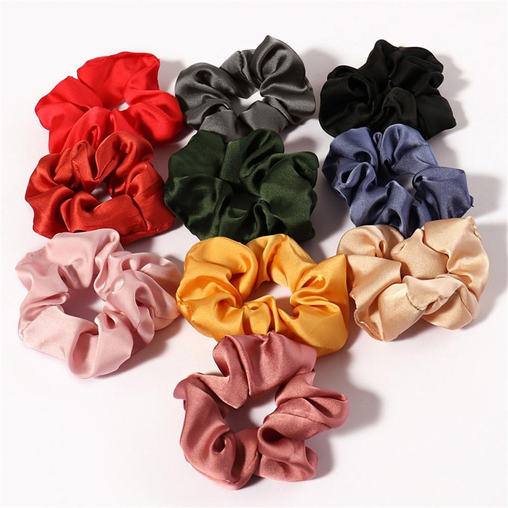 Satin Hair Scrunchies Women Scrunchie Pack Women Elastic Hair Bands Girls Headwear Solid Silky Donut Grip Loop Ponytail Holder
