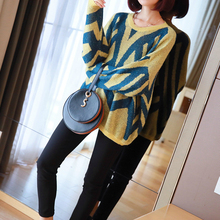 Oversized Contrast Knitted Sweater for Ladies Batwing Sleeve Pink Yellow Pullovers Fall Clothes for Women Autumn Winter Sweater contrast panel batwing sleeve tee