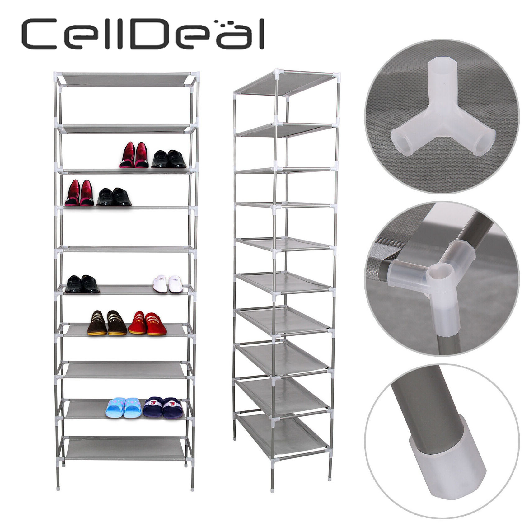 CellDeal Multi Layer Tiers Non-Woven Fabric Dustproof Shoe Rack Storage Organizer Shoe Cabinet Shelf Cabinet Shoe Organizer 1