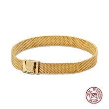 цена на Authent 925 Sterling Silver Bracelet Reflexions Mesh Bracelet Reflexion Friendship Bangles For Women Luxury DIY Jewelry