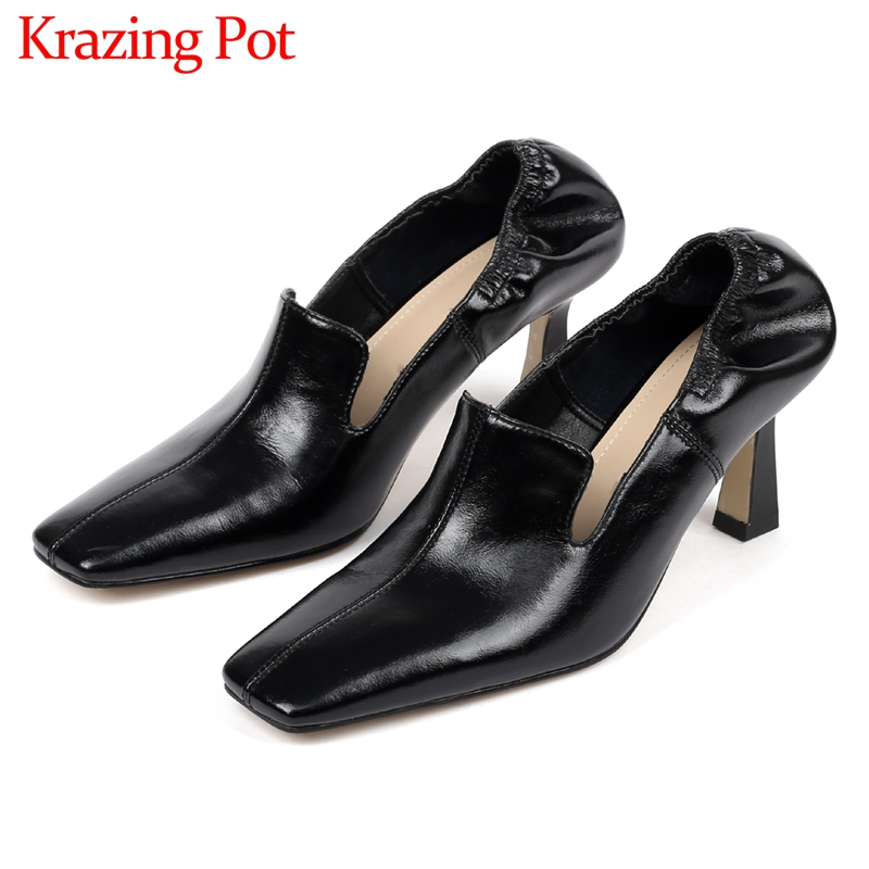 Krazing Pot New Stretch Pleated Slip On Genuine Leather Loafers Shoes Fashion Square Toe Solid High Heels Mature Women Pumps L04