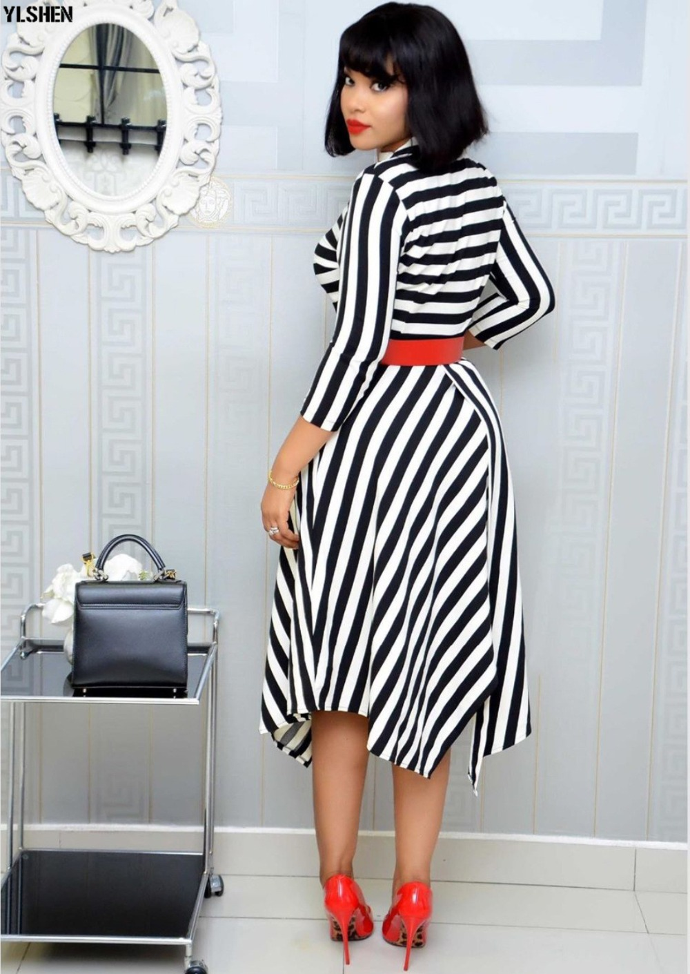 African Dresses For Women Stripe Africa Clothing Ankara Long Dress High Quality Length Fashion African Dress For Lady With Belt 34