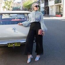 Islamic Clothing Muslim Wide Chiffon Pants Trousers Maxi Dubai-Turkish Loose Ruffled