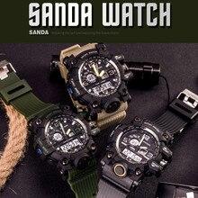 SANDA dual diplay military LED digital watch men waterproof