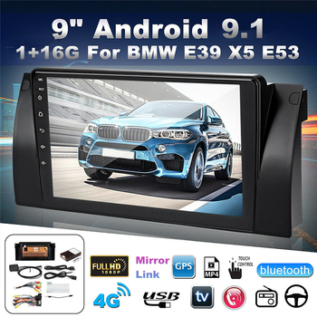 """9"""" HD Touch Screen Android 9.1 1+16GB Car Multimedia Radio Stereo GPS WIFI BT DAB Mirror Link For BMW E39 with CANBUS"""