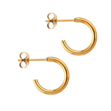 Stainless Steel Half Circle Lightweight Chunky Open Hoop Earrings for Women Girls New Fashion Jewelry Gifts