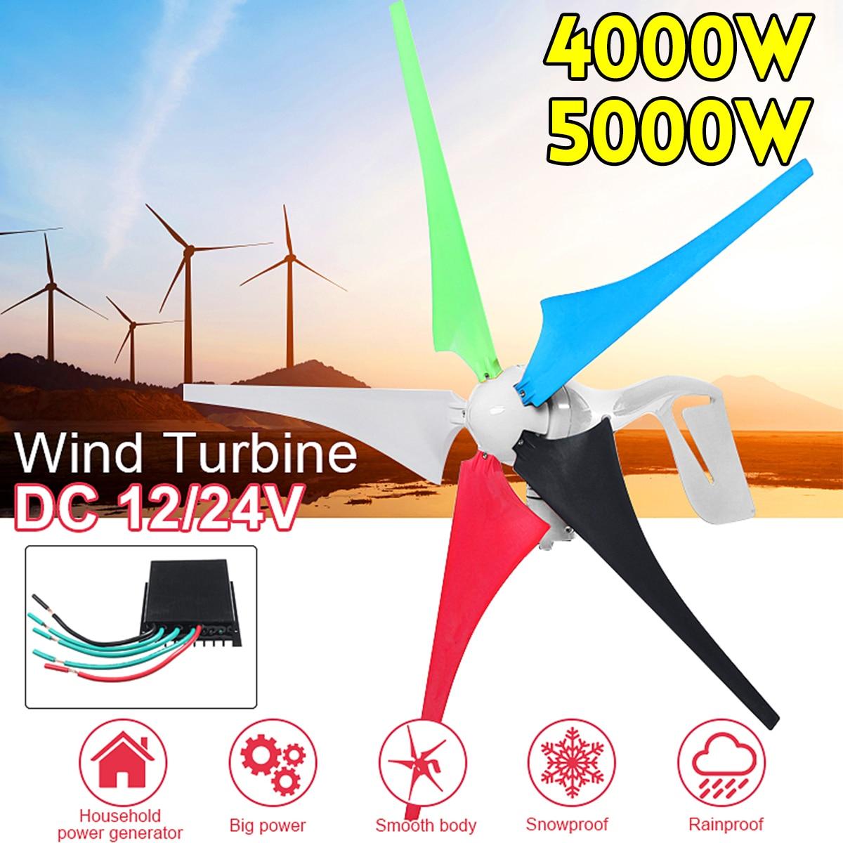 4000 W/5000 W générateur de vent 5 pales générateur 12/24V éoliennes accessoires de montage pour lampadaire domestique + contrôleur