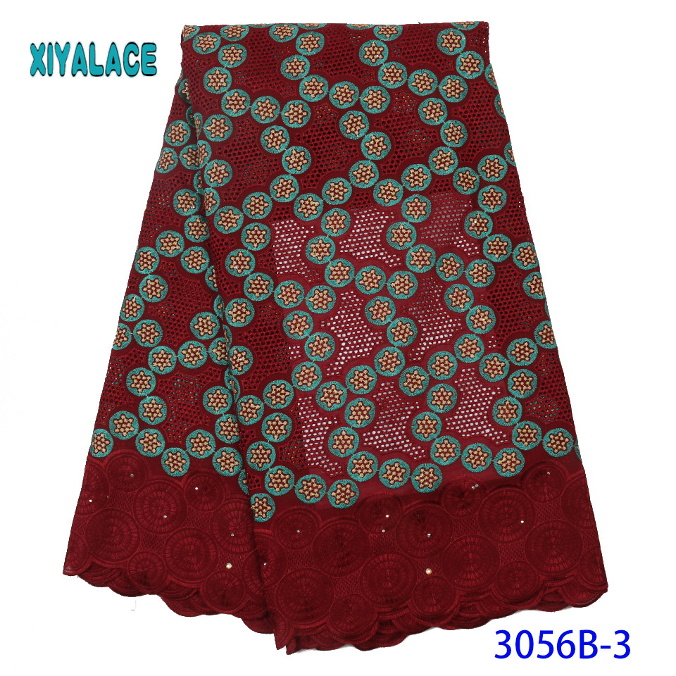 Latest African Lace Fabric With Beads 2019 High Quality French Tulle Lace Nigerian Lace Fabric For Woman Dresses YA3056B-3