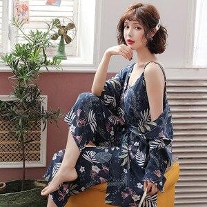Image 2 - JULYS SONG 3 Piece Spring  Floral Printed Pajamas Set Summer Viscose Sleepwear Women Pajamas Top  Long Pants Night Suit  Set