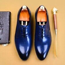 Genuine leather Men casual shoes business dress banquet suit shoes men brand brogue wedding oxford shoes for men black blue men shoes quality leather dress round toe shoe men brand brogue black business wedding casual shoes