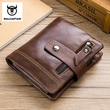 BULL CAPTAIN Cow Leather Men Wallet Fashion Coin Pocket Brand Trifold Multifunction Purse High Quality Male Card ID Holder