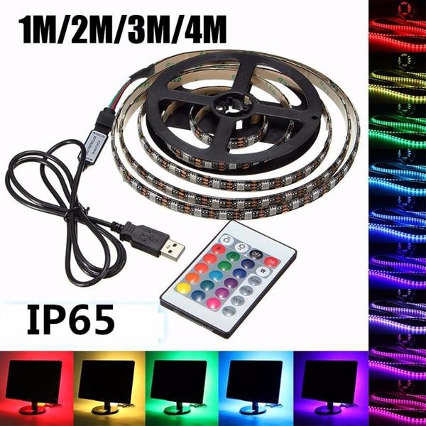 1/2/3/4M RGB LED Strip 5050 Waterproof Flexible Led Night Holiday Light Desk Lamp 24Key USB Strip Light 4PIN Connector