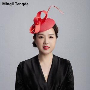 Mingli Tengda шляпа невесты из пеньковой розовой пряжи перо Свадебные аксессуары элегантная дамская шляпа Головной убор головной убор Темно-синя...