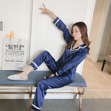 Simulation silk pajamas sets small turndown long-sleeved trousers two-piece ladies Solid color satin home service sleepwear