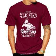 Brand Never Underestimate An Old Man Who Listens To Johny Cash And Was Born In February Men Short Sleeve T-Shirt