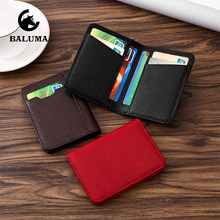 Leather ID Credit Card Holder Bifold Wallet Men Women Vintage Business Passport Driver License Cover Travel Credential Holder