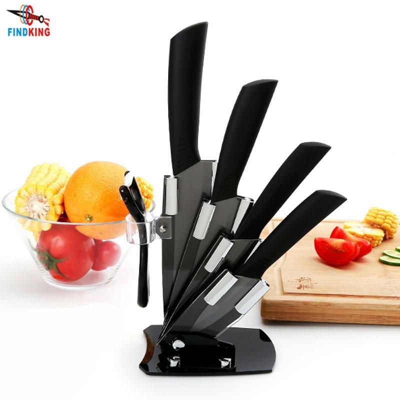 Knife-Set Blade Peeler Kicthen Ceramic Chef Black 6--Inch Brand 3-4-5-Acrylic-Holder/stand