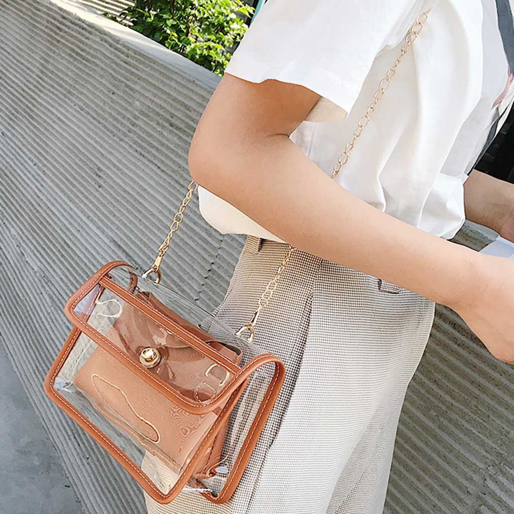 Women Clear Satchel Bag 2PCS Fashion Transparent Shoulder Crossbody Bags Ladies Messenger Casual Small Handbags Bolsa Feminina
