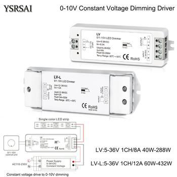 DC 5-36V stałe napięcie napęd do 0-10V ściemnianie LED ściemniacz 0-10V 8A 12A sterownik zasilania regulator jasności do taśmy Led tanie i dobre opinie YSRSAI CN (pochodzenie) 288W 5 Years LV LV-L 1CH 0 1-10V CV dimming controller Dimmers 5-36V DC PWM constant voltage 40-288W