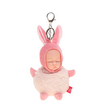 NEW Cute Sleeping Baby Doll KeyChains For Women Bag Toy Key Ring kawaii keychain plush keychain Mini Simulation toys for child(China)