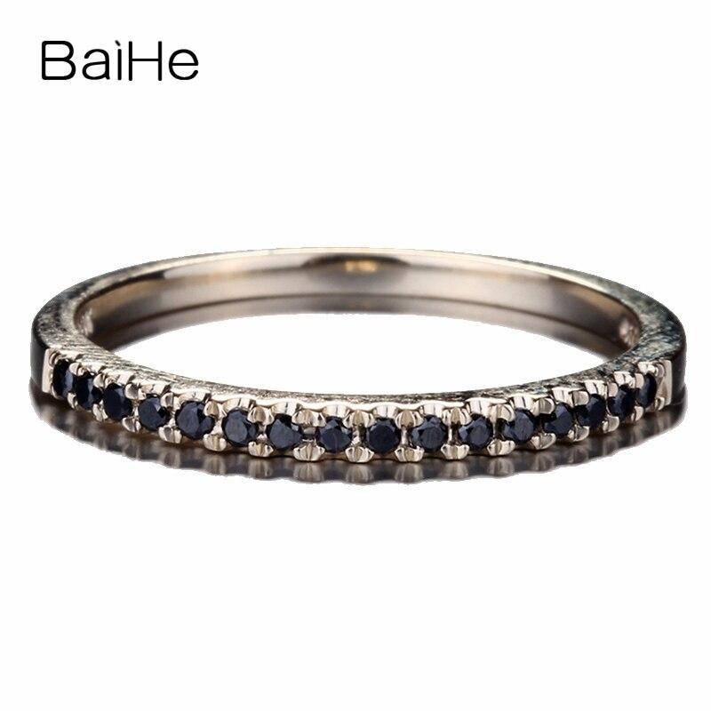 Женское кольцо с бриллиантами BAIHE, однотонное обручальное кольцо из желтого золота 10 к, 0,15 карат, черное ювелирное изделие, свадебный подаро