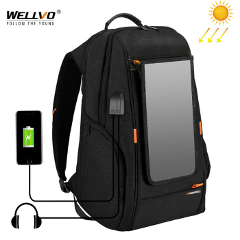 Outdoor Solar Panel Power Travel Backpacks Multifunction Breathable Men Backpack Laptop Bag with Handle USB Charging Port XA279Z 1