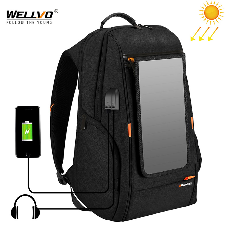 Outdoor Solar Panel Power Travel Backpacks Multifunction Breathable Men Backpack Laptop Bag With Handle USB Charging Port XA279Z