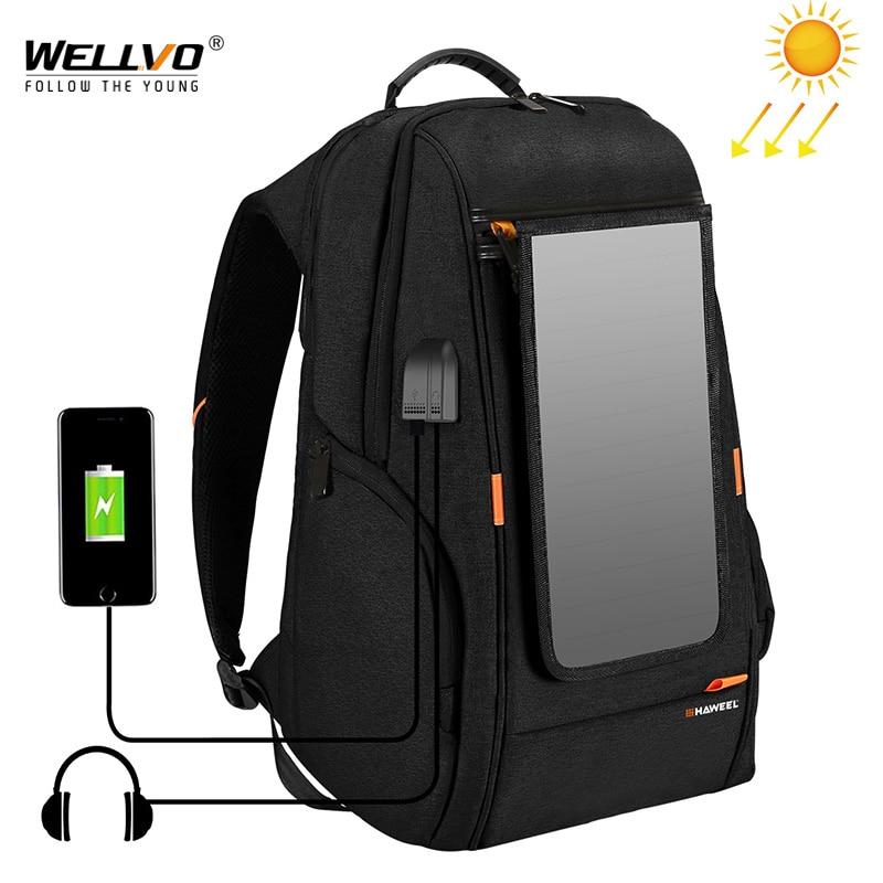 Outdoor Solar Panel Power Travel Backpacks Multifunction Breathable Men Backpack Laptop Bag With Handle USB Charging Port XA279Z