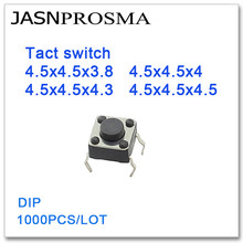 JASNPROSMA Tact switch 1000PCS/lot 4.5x4.5x3.8 4.5x4.5x4 4.5x4.5x4.3 4.5x4.5x4.5 DIP High quality 4.5*4.5*3.8 4.5*4.5*4