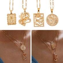 MAA-OE Bohemia retrato aleación oro collares colgante de moneda para mujer Vintage rosa moda collar largo 2019 regalos de joyería