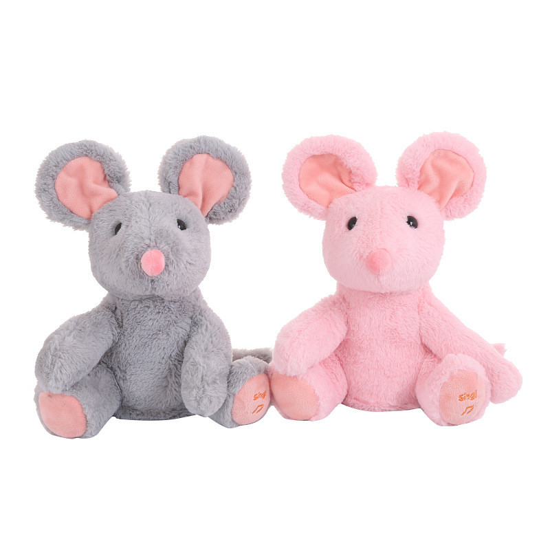 1PCS 28CM Electric Peek A Boo Mouse Stuffed Animals Singing Baby Music Toy Ears Flaping Move Interactive Doll For Children Gifts