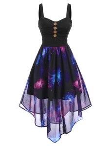 Wipalo gwiaździste niebo przycisk zdobione Ruched Maxi sukienka kobiety lato bez rękawów Casual Dress linia Party Dress Vestidos Robe