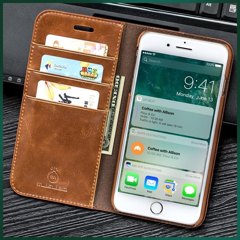 Musubo funda con tapa de cuero genuino para iphone 8 plus 7 plus billetera de lujo cubierta ajustada para fundas iphone x 6 6s 5 5s SE casos Coque capa fundas