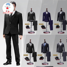 In Stock 1/6 Scale Male Western Suit with Leather Shoes Poptoys X28/X27 Clothes for 12 Inches DIY Narrow Shoulder Body Figure