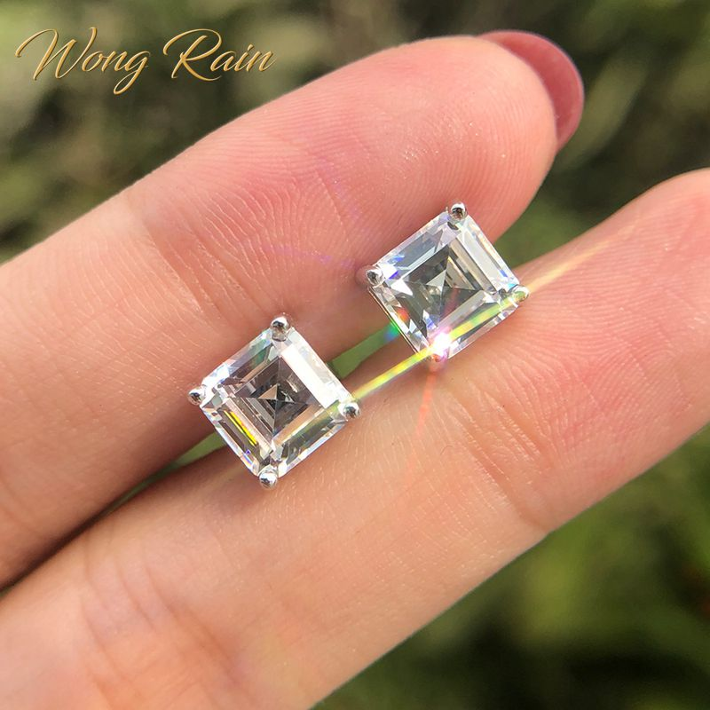 Wong Rain Classic 100% 925 Solid Sterling Silver 7 * 7 MM Created Moissanite Gemstone Ear Studs Earrings Fine Jewelry Wholesale