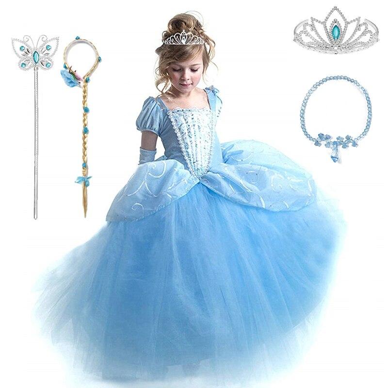 Маскарадный костюм Золушки Одежда для маленьких девочек платье для маленьких девочек Бальные платья принцессы для дня рождения, вечерние К...