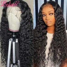 Peruca dianteira do laço da onda profunda 13 × 6 perucas do cabelo humano da parte dianteira do laço com cabelo do bebê para perucas encaracoladas pretas do cabelo humano das mulheres