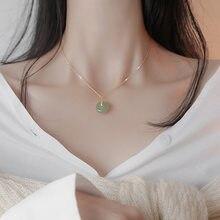 Collier en or 14K en Jade naturel, pendentif émeraude pour femme, collier De luxe en pierre précieuse topaze