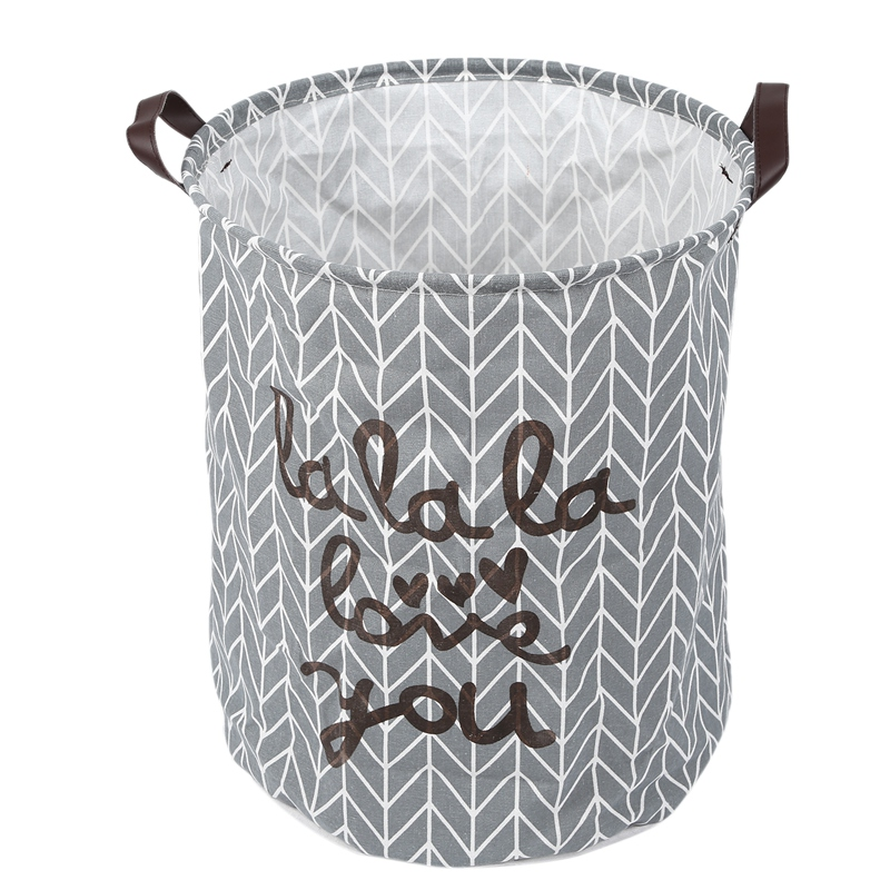 Collapsible Laundry Hamper, Round Cotton Linen Laundry Basket, Large Storage Bin For Kids Room And College Dorm