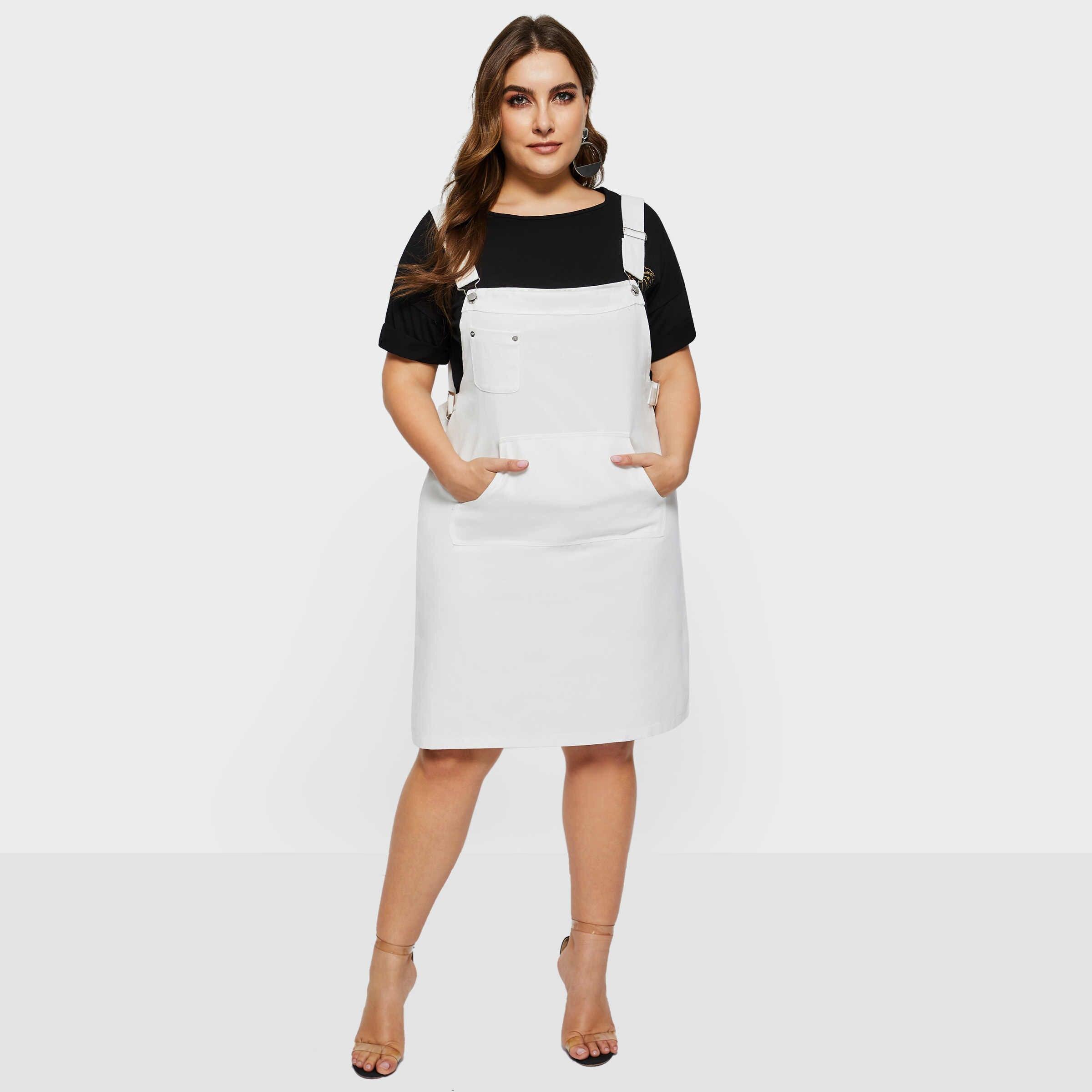 Женские джинсовые платья Белые Простые повседневные уличные плюс размер простые элегантные женские горячие продажи модные милые с высокой талией подтяжки платье