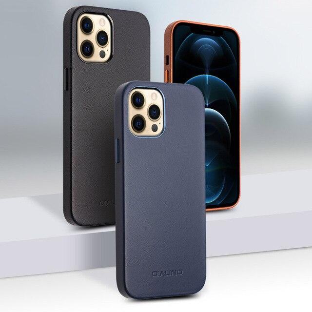 QIALINO אמיתי עור טלפון מקרה עבור iPhone 11Pro מקס אנטי סתיו אופנה יוקרה Ultra דק חזרה כיסוי עבור iPhone12 מיני פרו מקסימום